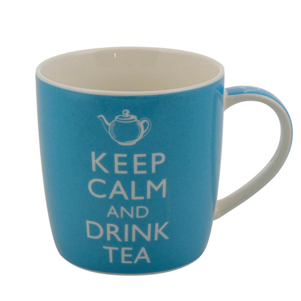 Mok Keep calm and drink tea blauw